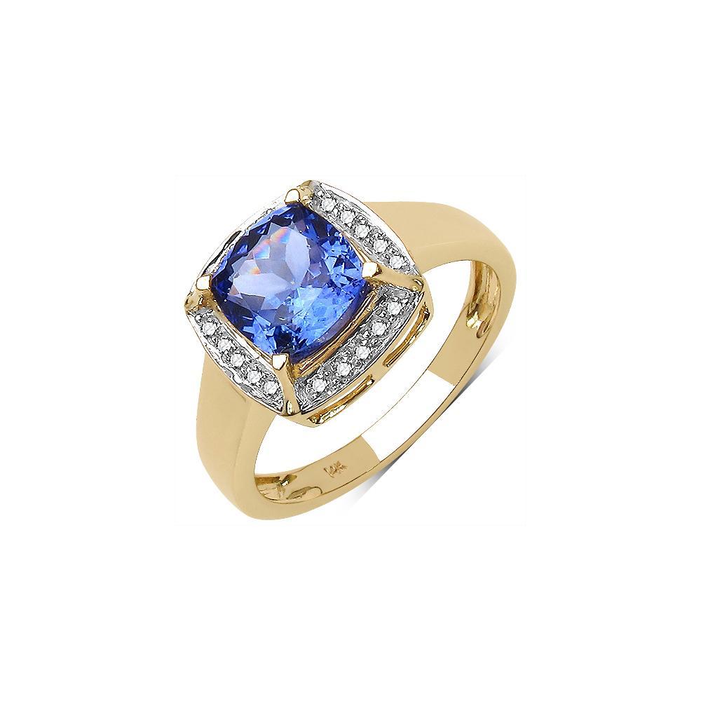 1.66 CTW Tanzanite & 0.14 CTW Diamond Ring 14K Yellow Gold - REF-67V8Y