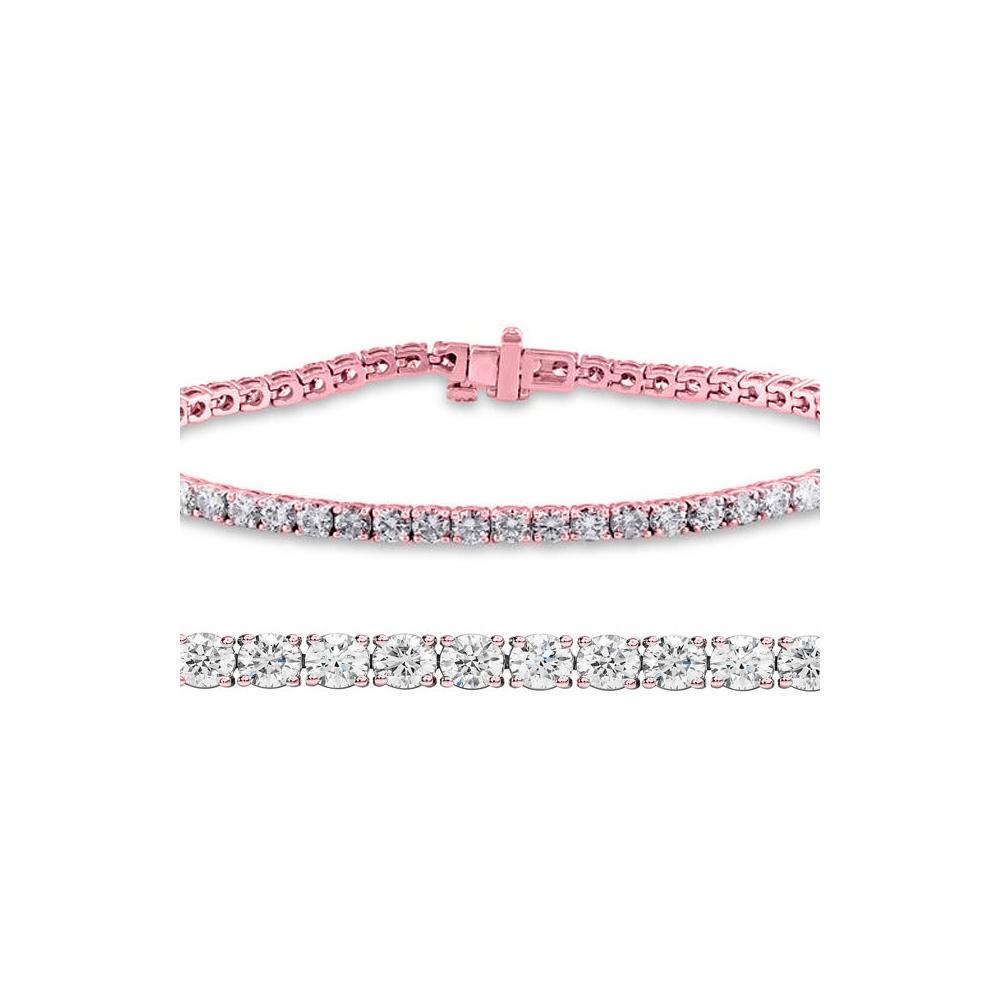 Natural 3ct VS-SI Diamond Tennis Bracelet 18K Rose Gold - REF-246X2R