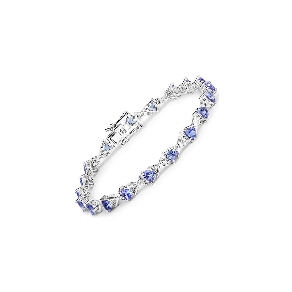 4.47 CTW Tanzanite & Diamond Bracelet Bracelet 14K White Gold - REF-131M6A