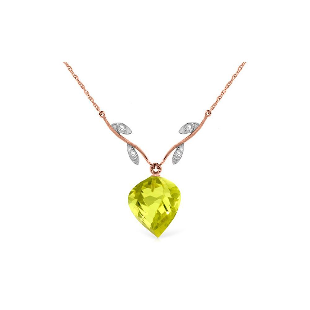 Genuine 10.77 ctw Lemon Quartz & Diamond Necklace Jewelry 14KT Rose Gold - REF-39Z3N