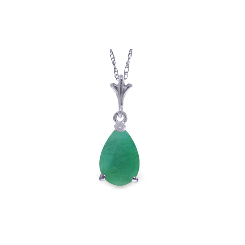 Genuine 1 ctw Emerald Necklace Jewelry 14KT White Gold - REF-24R5P