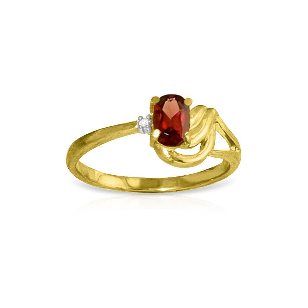 Genuine 0.46 ctw Garnet & Diamond Ring Jewelry 14KT Yellow Gold - REF-30W6Y