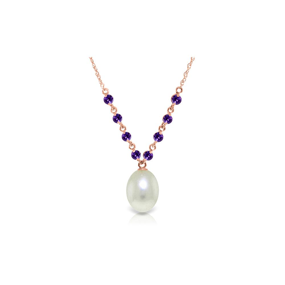 Genuine 5 ctw Pearl & Amethyst Necklace Jewelry 14KT Rose Gold - REF-25A4K