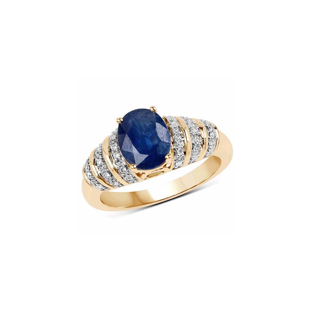 2.11 CTW Blue Sapphire & Diamond Ring 14K Yellow Gold - REF-65Y2K