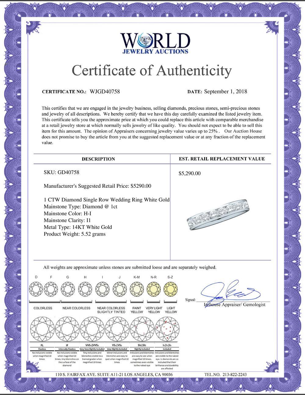 1 CTW Diamond Single Row Wedding Ring 14KT White Gold - REF-134F9N
