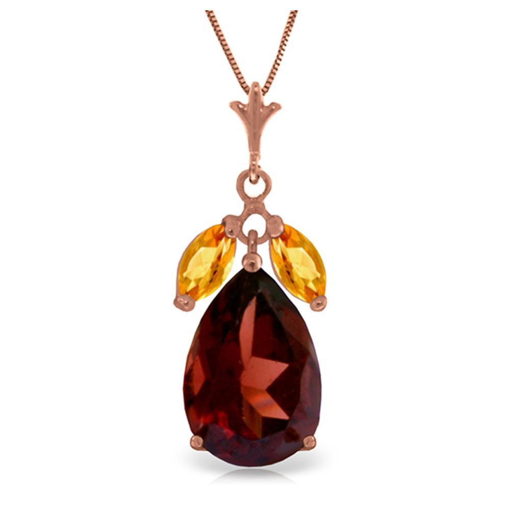 Genuine 6.5 ctw Garnet & Citrine Necklace Jewelry 14KT Rose