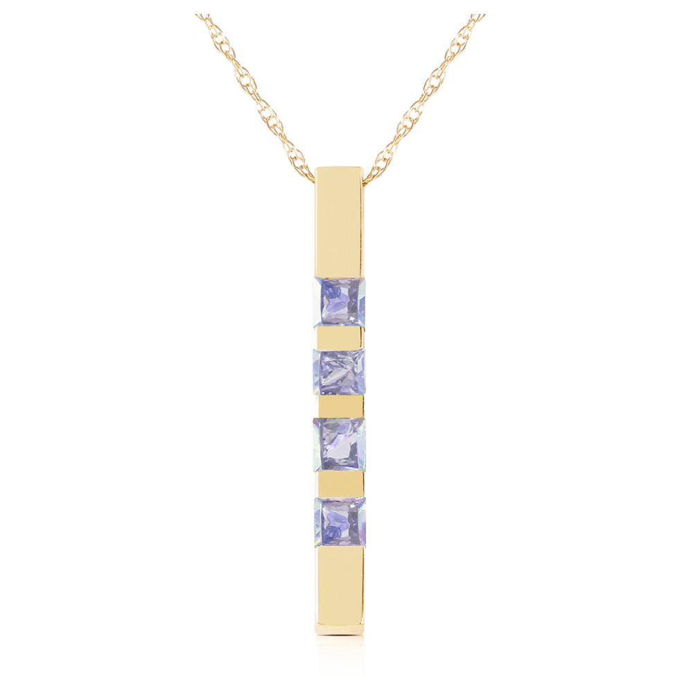 Genuine 0.35 ctw Tanzanite Necklace Jewelry 14KT Yellow Gold