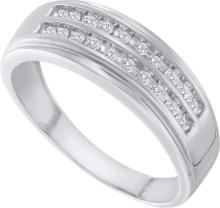 0.25 CTW Mens Natural Diamond 2-row Anniversary Band 10K White Gold - REF-27A2N