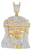 1.25 CTW Mens Natural Diamond Jesus Christ Messiah Charm Pendant 10K Yellow Gold - REF-75Y2V
