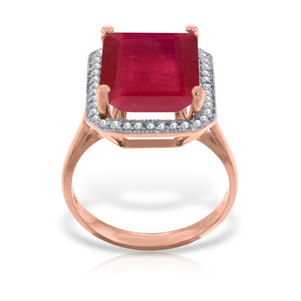 Genuine 7.45 ctw Ruby & Diamond Ring Jewelry 14KT Rose Gold