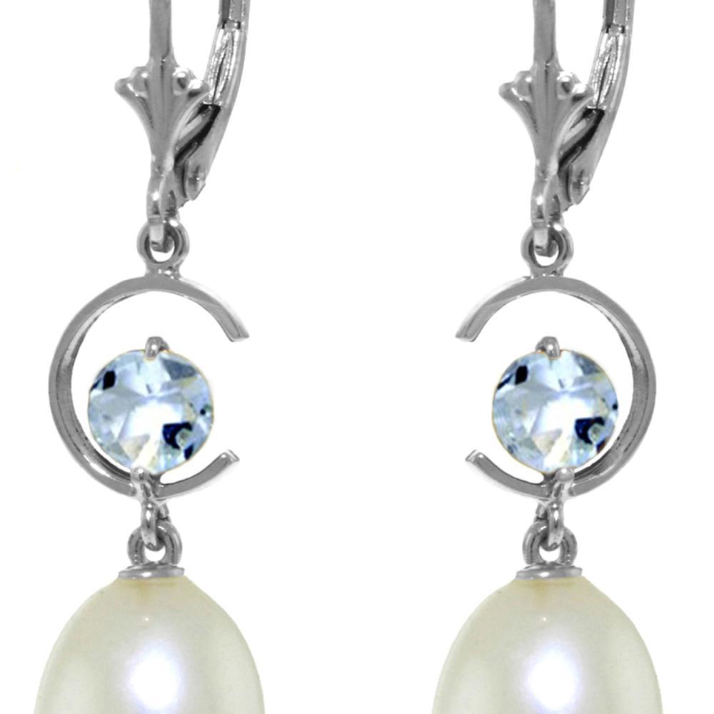 Genuine 9 ctw Pearl & Aquamarine Earrings Jewelry 14KT White
