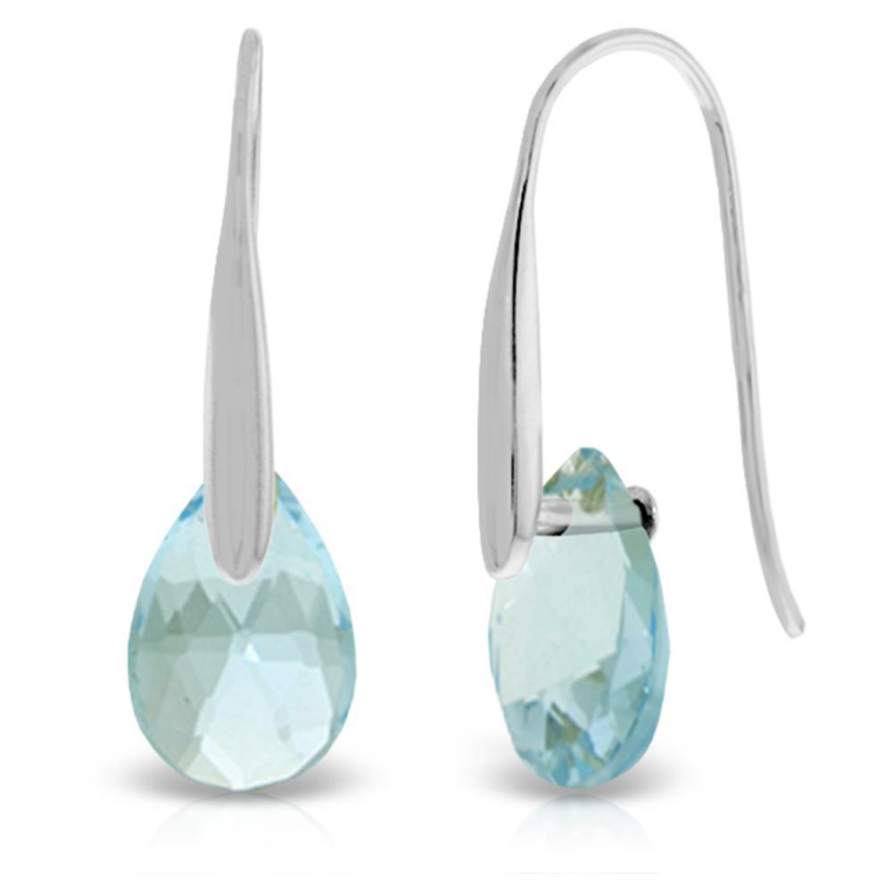 Genuine 6 ctw Blue Topaz Earrings Jewelry 14KT White Gold