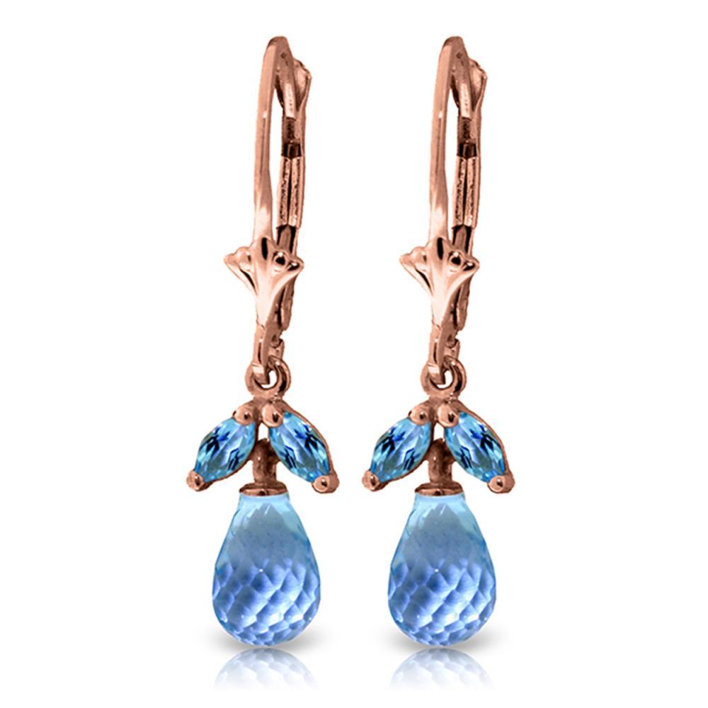 Genuine 3.4 ctw Blue Topaz Earrings Jewelry 14KT Rose Gold