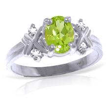 Genuine 0.97 ctw Peridot & Diamond Ring Jewelry 14KT White Gold - REF-59V2W