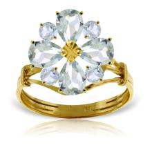 Genuine 2.43 ctw Aquamarine Ring Jewelry 14KT Yellow Gold - REF-55M3T