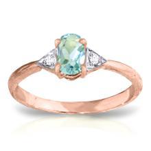Genuine 0.46 ctw Aquamarine & Diamond Ring Jewelry 14KT Rose Gold - REF-23W5Y