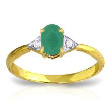Genuine 0.51 ctw Emerald & Diamond Ring Jewelry 14KT Yellow Gold - REF-29F2Z