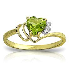 Genuine 0.97 ctw Peridot & Diamond Ring Jewelry 14KT Yellow Gold - REF-29F7Z