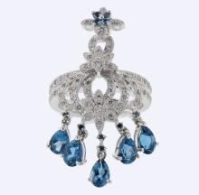 Genuine 2.99 CTW Topaz Fashion  Ring in 14K White Gold - REF-98H5R