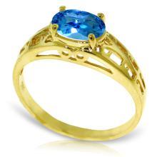 Genuine 1.15 ctw Blue Topaz Ring Jewelry 14KT Yellow Gold - REF-32Y3F
