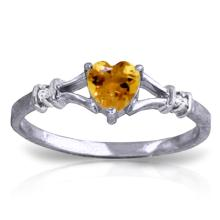 Genuine 0.47 ctw Citrine & Diamond Ring Jewelry 14KT White Gold - REF-27K2V