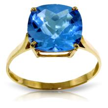 Genuine 3.6 ctw Blue Topaz Ring Jewelry 14KT Yellow Gold - REF-34P7H