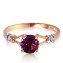 Genuine 0.92 ctw Amethyst & Diamond Ring Jewelry 14KT Rose Gold - REF-28P4H