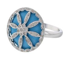 Genuine 12.4 CTW Turquoise Cocktail  Ring in 18K White Gold - REF-75A8N