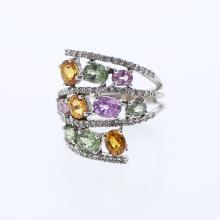 Genuine 9.61 CTW Topaz Fashion  Ring in 14K White Gold - REF-102R3K