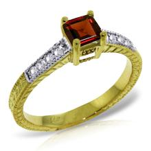 Genuine 0.65 ctw Garnet & Diamond Ring Jewelry 14KT Yellow Gold - REF-69R6P