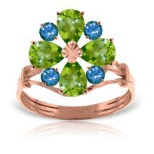 Genuine 2.43 ctw Peridot & Blue Topaz Ring Jewelry 14KT Rose Gold - REF-48P3H