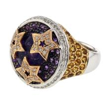 Genuine 6.48 CTW Amethyst Cocktail  Ring in 14K Two Tone Yellow Gold - REF-117X4W