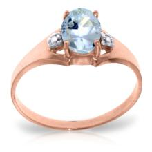 Genuine 0.76 ctw Aquamarine & Diamond Ring Jewelry 14KT Rose Gold - REF-23W2Y