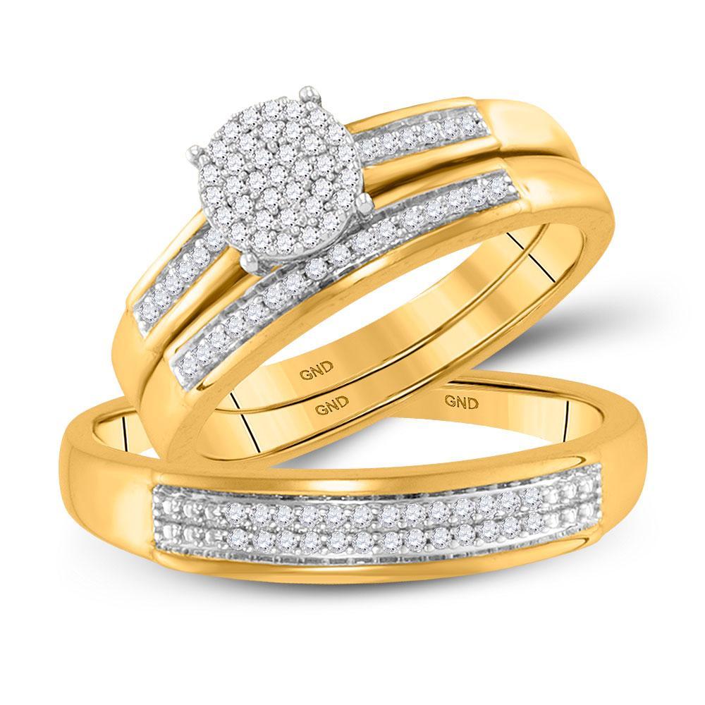0.33 CTW Diamond Cluster Ring 10K Yellow Gold - REF-48V2Y