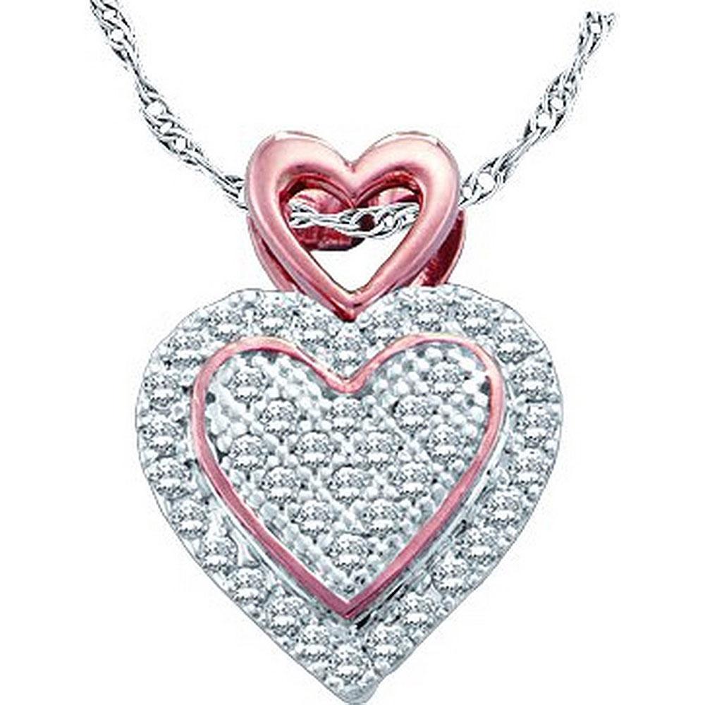 0.15 CTW Diamond Heart Pendant 10K 2-tone Gold - REF-14A4V
