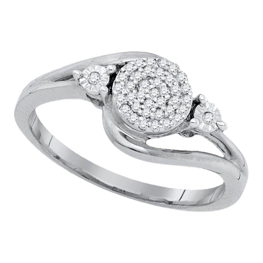 0.10 CTW Diamond Cluster Ring 10K White Gold - REF-17M6F