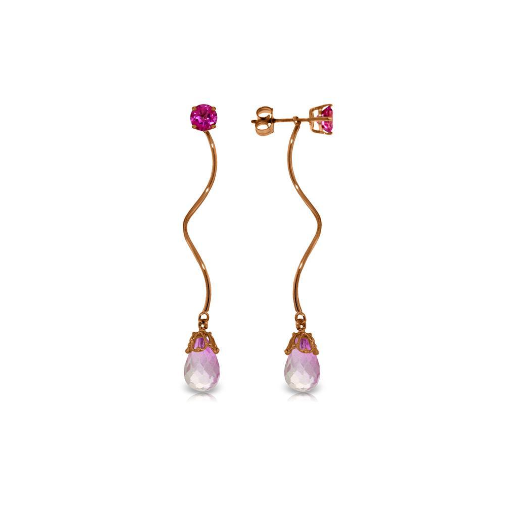 Genuine 6.8 ctw Pink Topaz Earrings 14KT Rose Gold - REF-39X3M