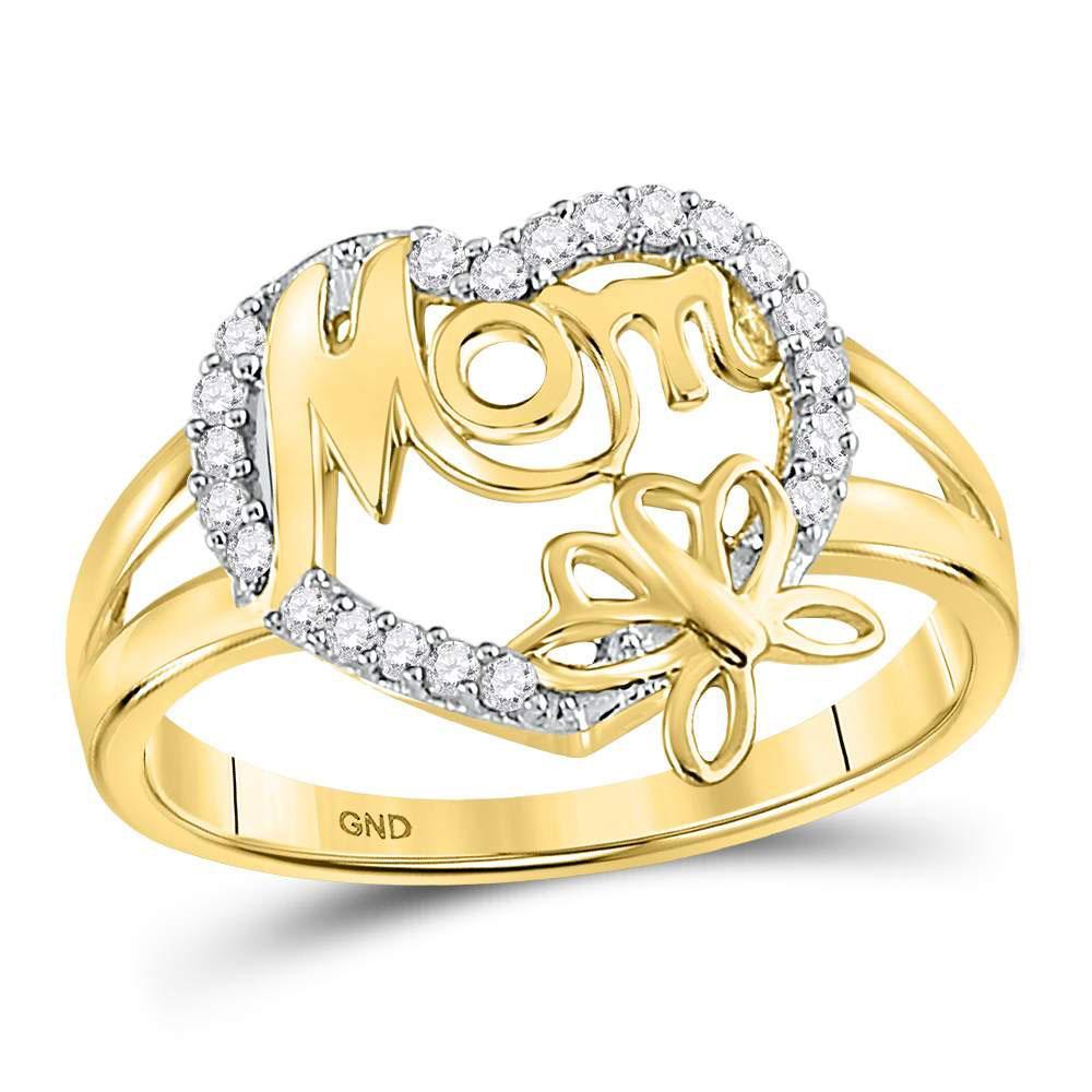 0.16 CTW Diamond Mom Heart Butterfly Ring 10K Yellow Gold - REF-17V6Y