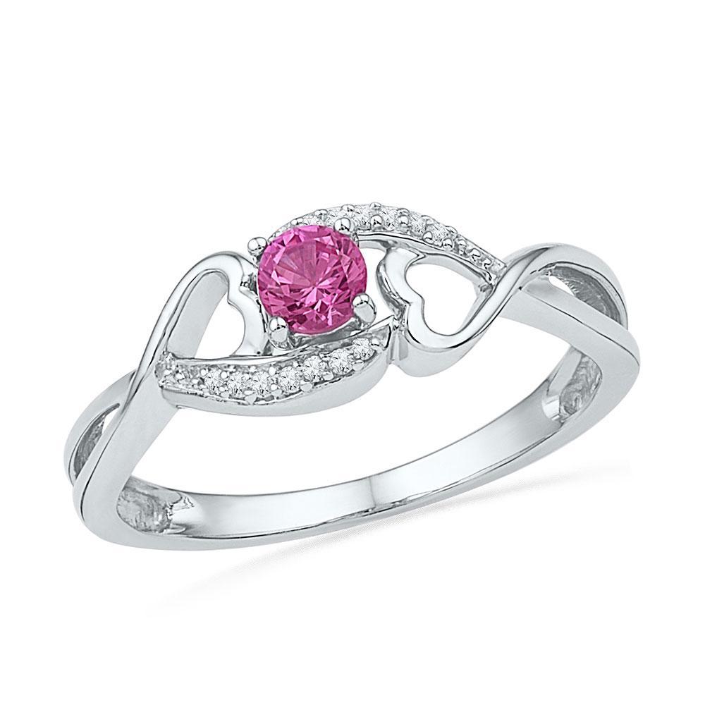 0.16 TCW Lab Pink Sapphire & White Diamond Heart Ring 10K White Gold - REF-14A4V