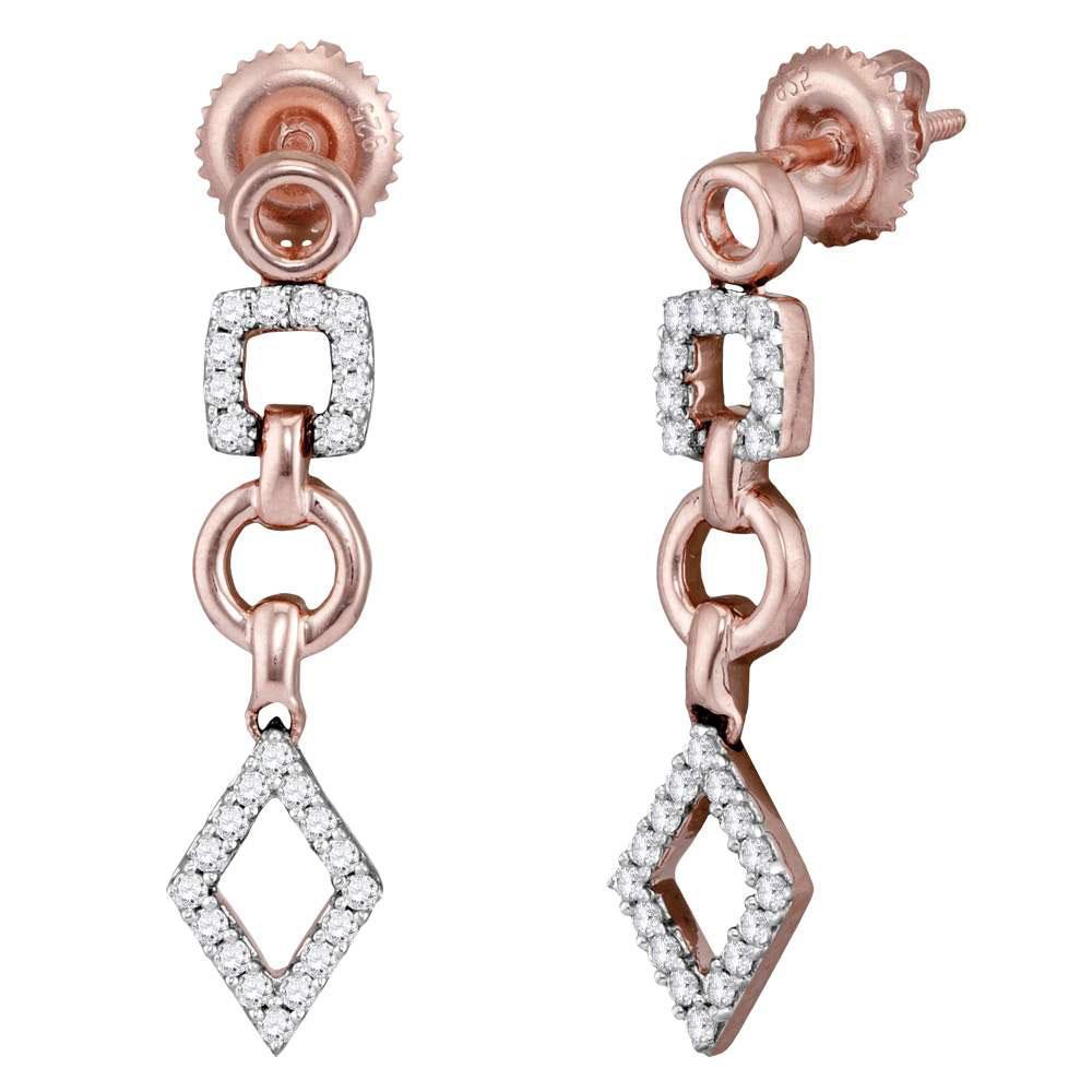 0.33 CTW Diamond Geometric Earrings 14K Rose Gold - REF-48K2W