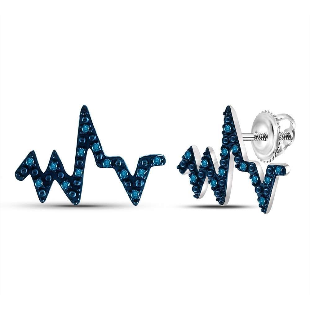0.08 CTW Blue Diamond Heartbeat Earrings 14K White Gold - REF-16M2F