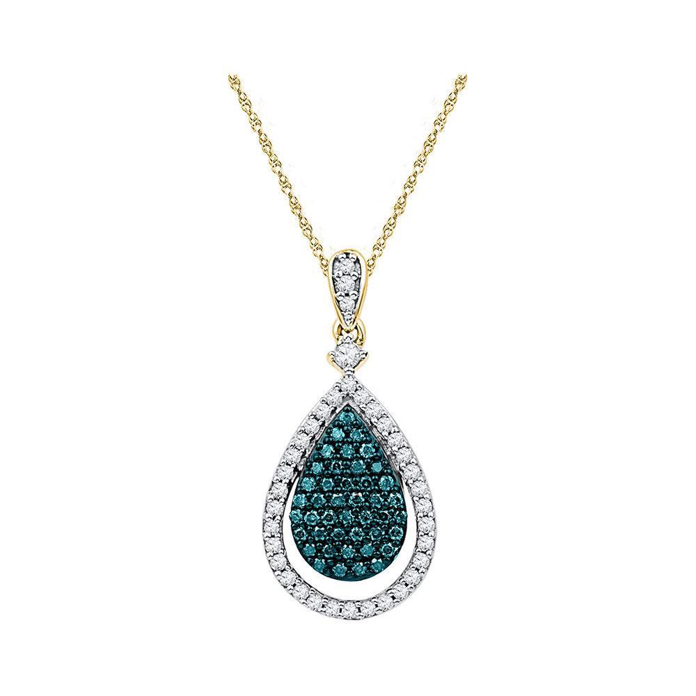 0.04 TCW Blue Diamond & White Diamond Teardrop Pendant 10K Rose Gold - REF-44W9H