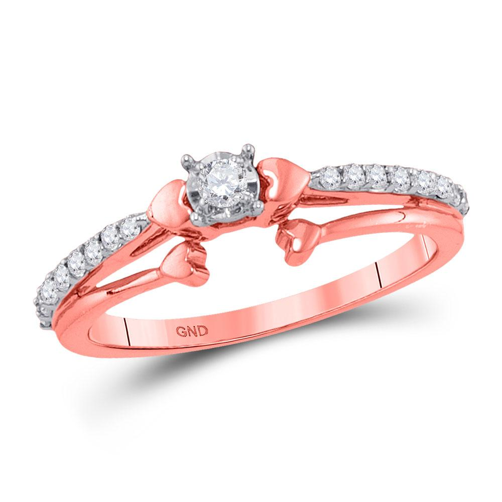 0.25 CTW Diamond Solitaire Promise Ring 10K Rose Gold - REF-27N2A