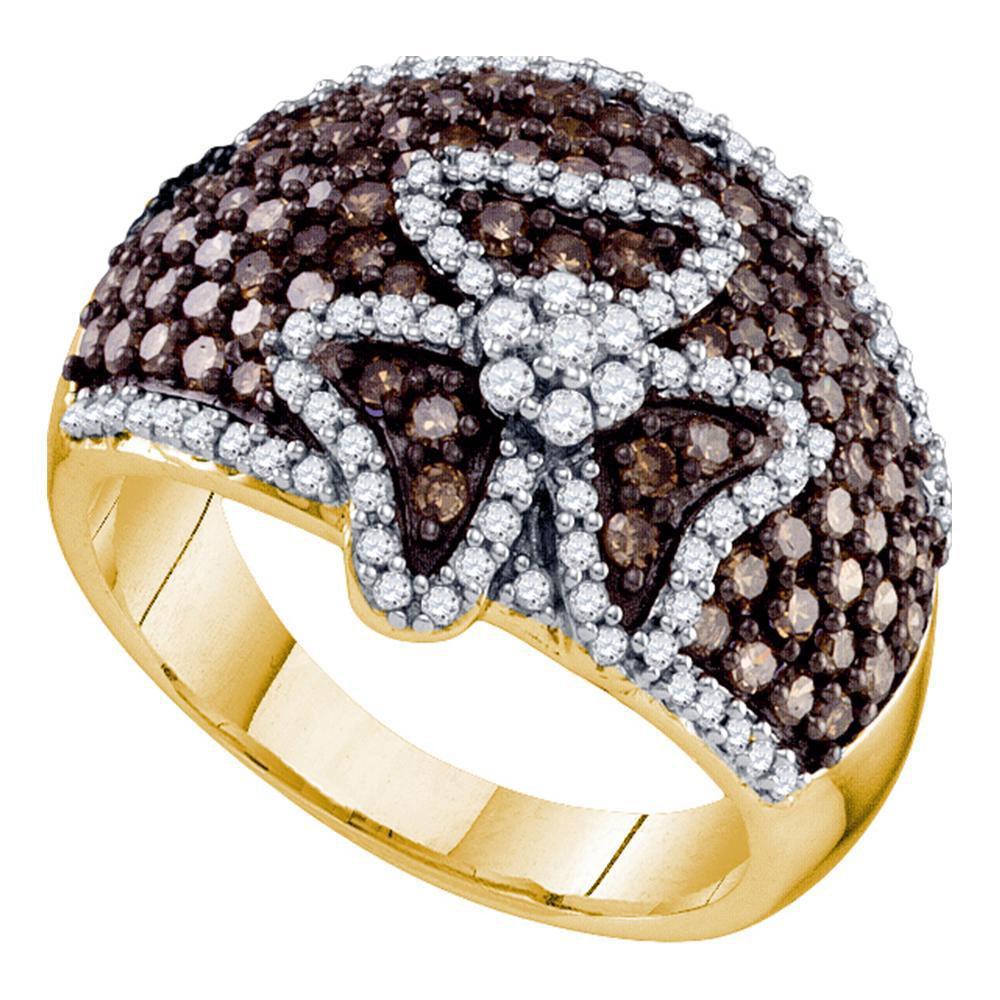 1.53 TCW Brown Diamond & White Diamond Ring 10K Yellow Gold - REF-80F2N