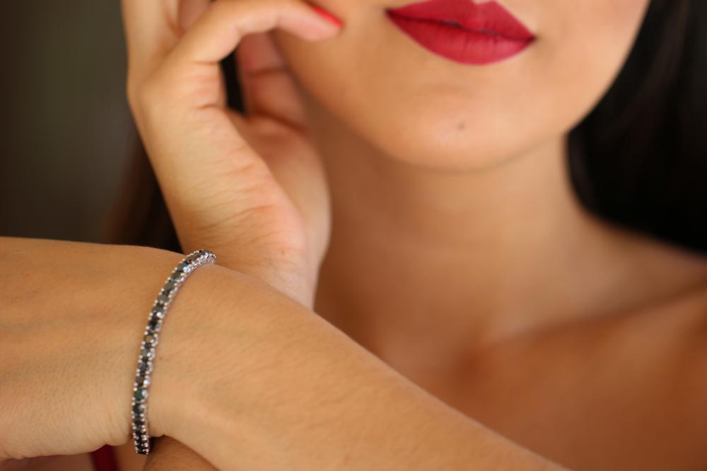 Natural 11.88 ctw Black Diamond Eternity Tennis Bracelet 14K White Gold - REF-286H4M