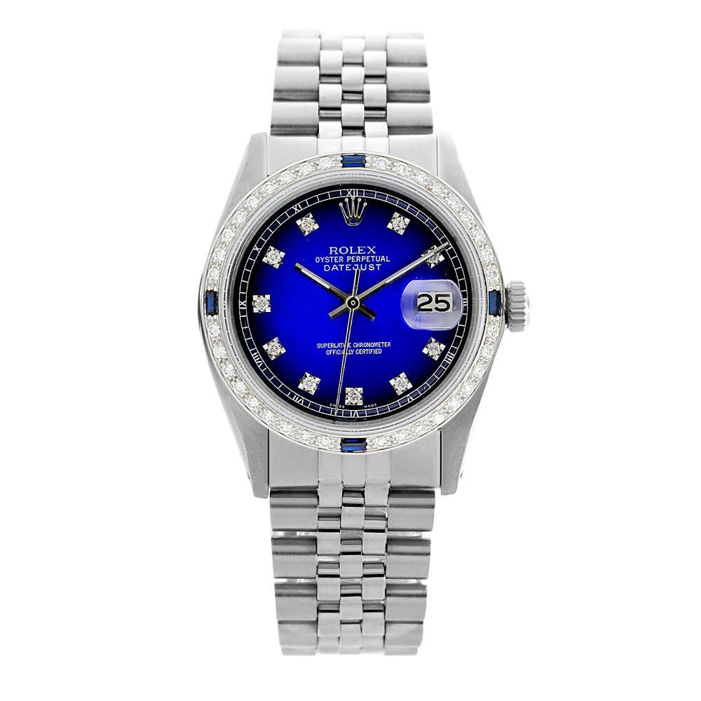 Rolex Pre-owned 36mm Mens Blue Vignette Stainless Steel - REF-580N4H