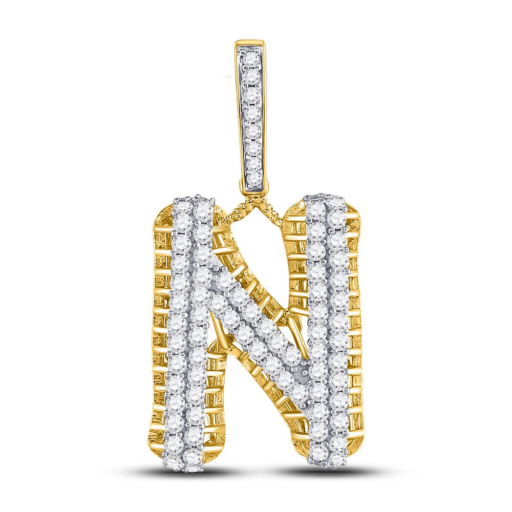 1.52 CTW Diamond Letter N Pendant 10K Yellow Gold - REF-105V8Y