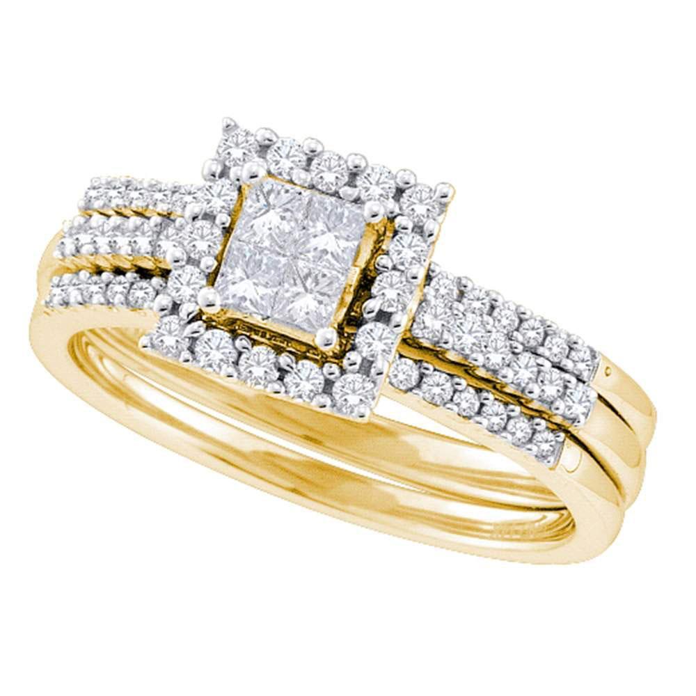 0.50 CTW Diamond 3-Piece Halo Ring 14K Yellow Gold - REF-85A2V