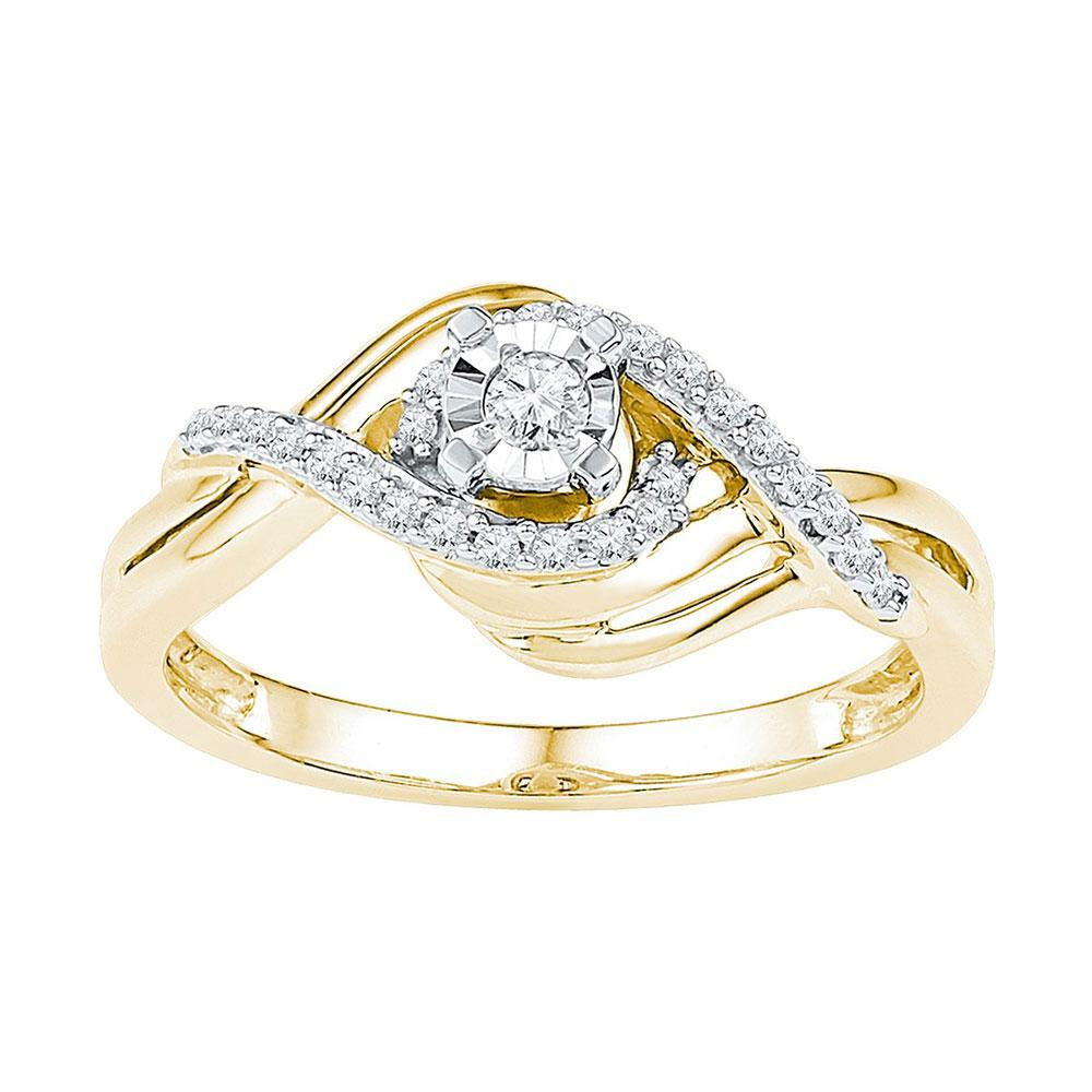 0.21 CTW Diamond Solitaire Ring 10K Yellow Gold - REF-27H2M