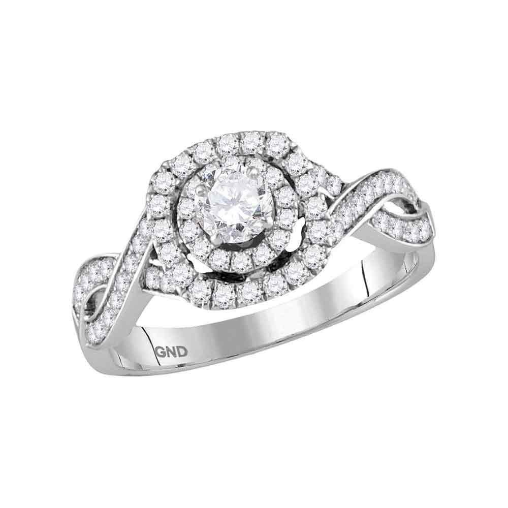 0.87 CTW Diamond Solitaire Ring 14K White Gold - REF-112N3A